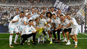 Real Madrid foreign players celebrating the Spain Supercup
