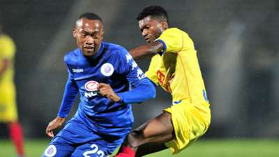 Thabo Mnyamane of Supersport United challenged by Herenilson of Atletico Petro