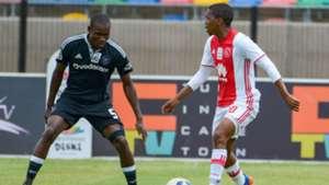 Lebogang Mokoena of Ajax Cape Town and Tercious Malepe of Orlando Pirates