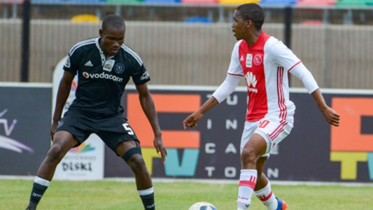 Lebogang Mokoena of Ajax Cape Town and Tercious Malepe of Orlando Pirates
