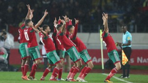 Walid El Karti leads Morocco players in celebration during 2018 CHAN