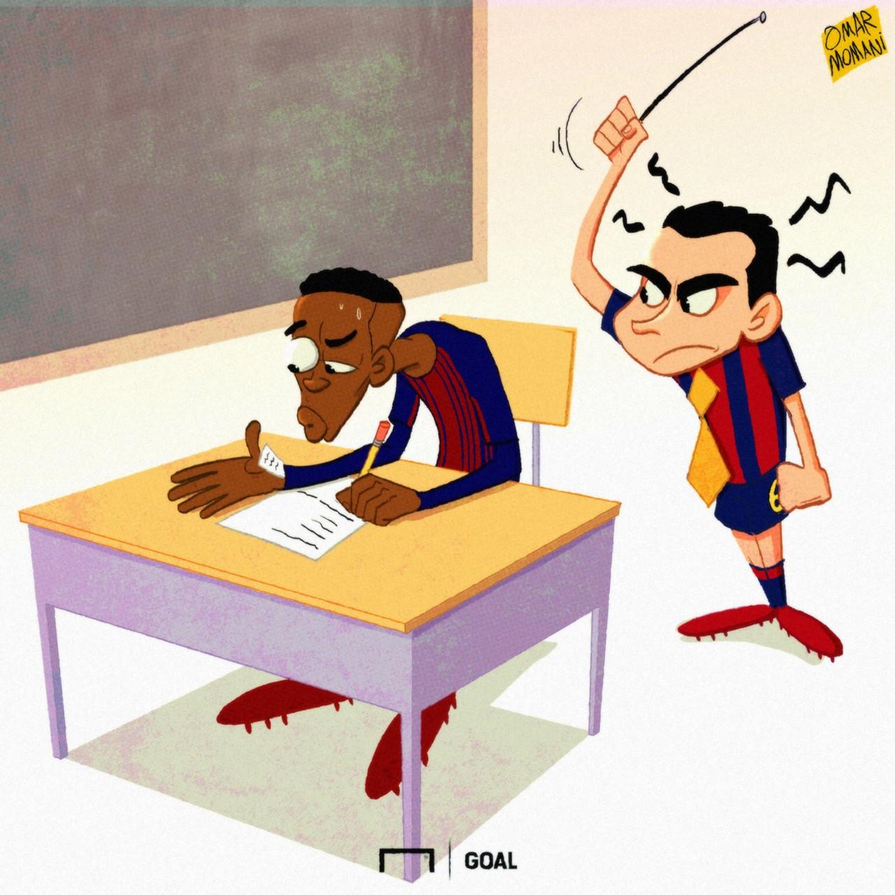 Xavi Ousmane Dembele cartoon