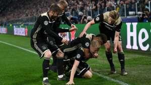 Ajax celebrating Juventus Champions League