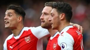 Mesut Ozil Shkodran Mustafi Granit Xhaka Arsenal Manchester City Premier League 02042017