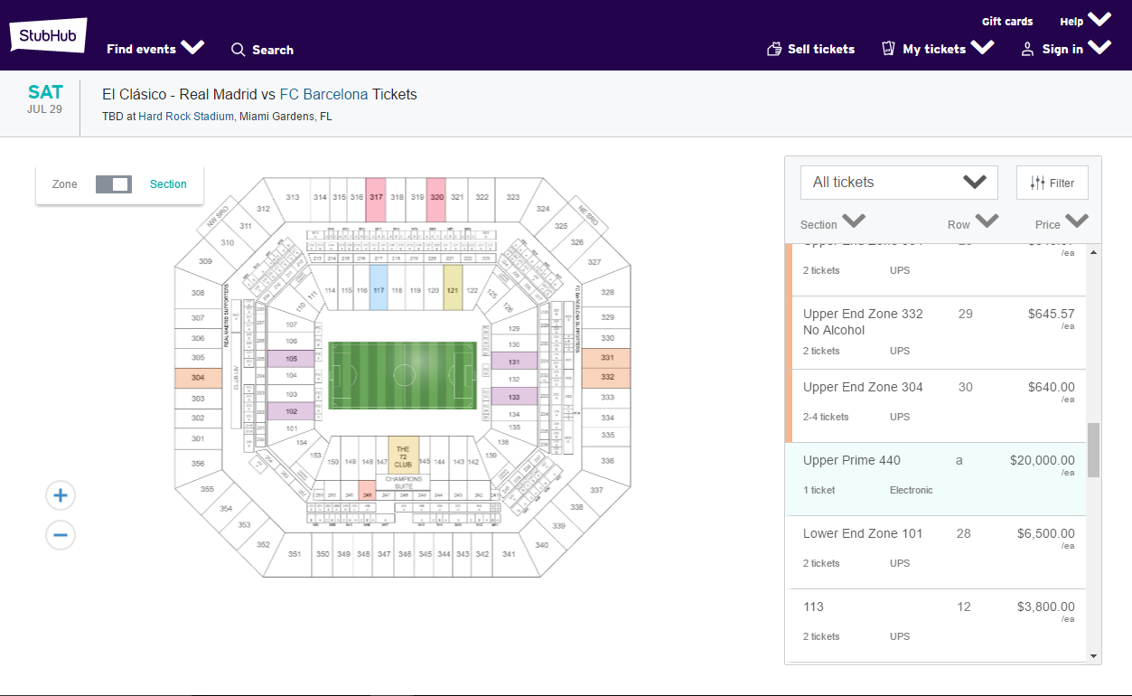 Barca Madrid Miami ticket prices20K