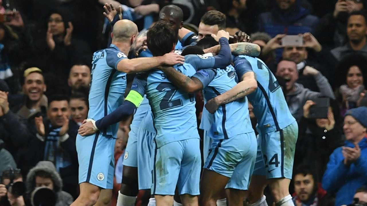 Manchester City celebrate vs Monaco