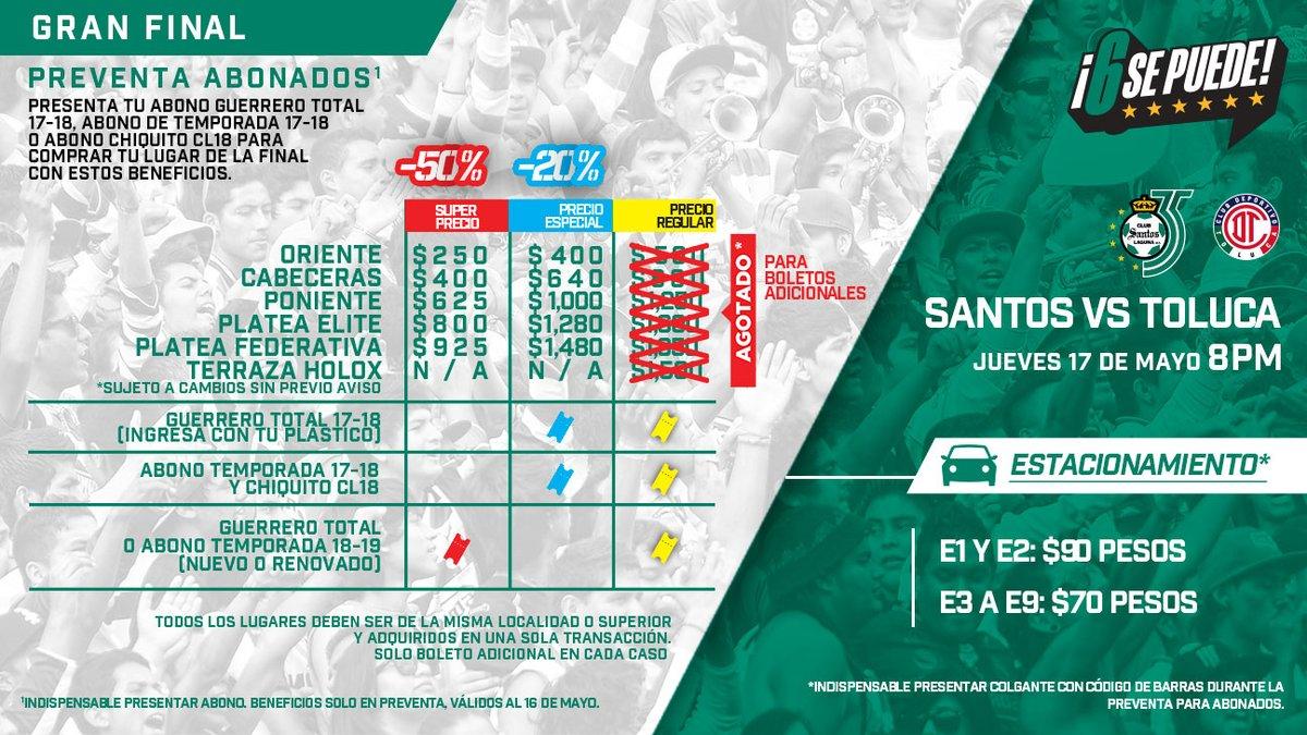 Santos Laguna boletos