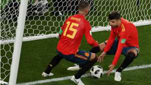 Pique Sergio Ramos Espanha Marrocos Copa do Mundo 25 06 2018