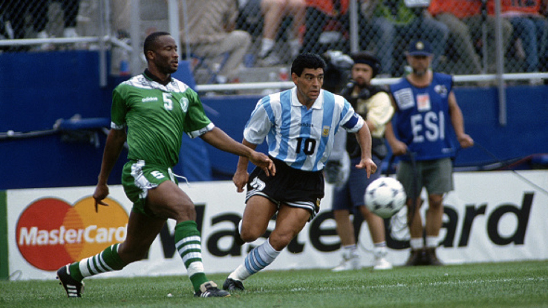 Argentina vs Nigeria at the 1994 World Cup Football Championships. Uche Okechukwu and Diego Maradona
