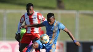 Mbulelo Wambi of Royal Eagles and Siphesihle Ndlovu of Maritzburg United, May 2019