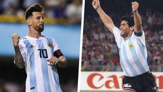 Diego Maradona Lionel Messi Argentina Split