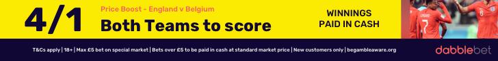 dabblebet new customer offer England v Belgium BTTS 4/1 footer