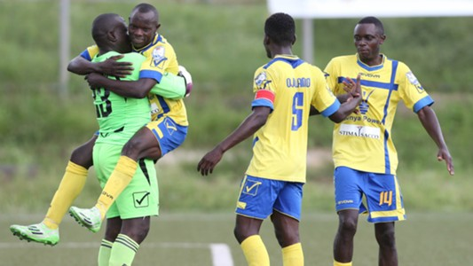 Western Stima players celebrate the win against Mathare United.