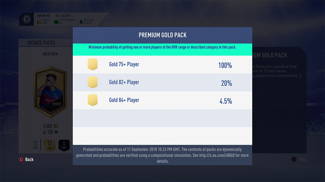 FIFA 19 Pack Odds