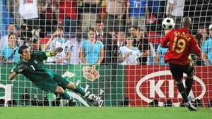 Marcos Senna scoring a penalty past Buffon at Euro 2008