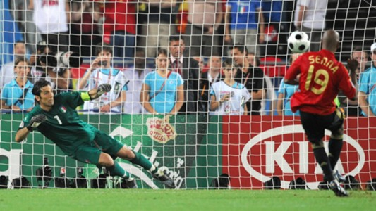 Marcos Senna scoring a penalty past Buffon at Euro 2008