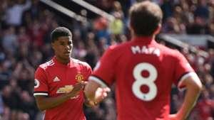 Juan Mata Marcus Rashford Manchester United Watford Premier League 13052018