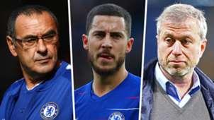 Maurizio Sarri Eden Hazard Roman Abramovich Chelsea