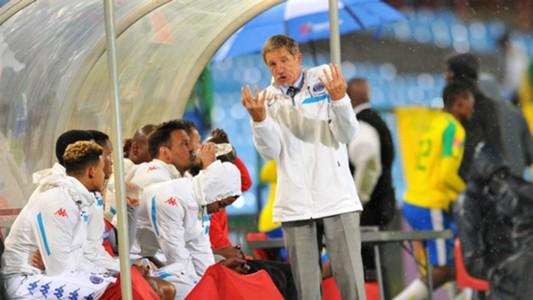 Stuart Baxrter on SuperSport United bench