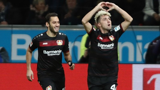 Hakan Calhanoglu and Kevin Kampl celebrating Bayer Leverkusen