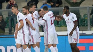 Milan celebrating Chievo Milan Serie A