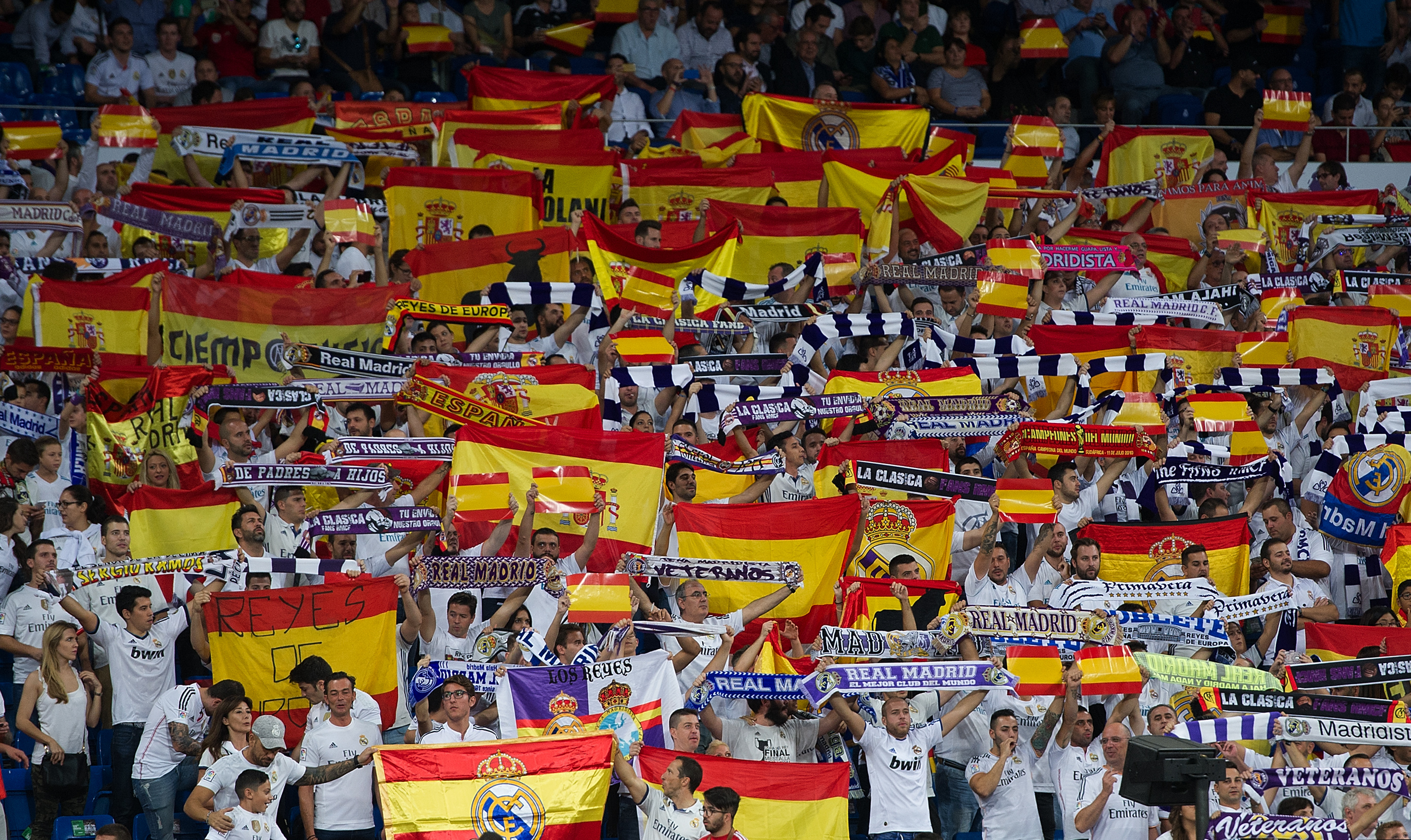Real Madrid fans Spanish flags