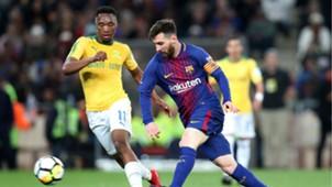 Lionel Messi of Barcelona and Sibusiso Vilakazi of Sundowns - May 16 2018