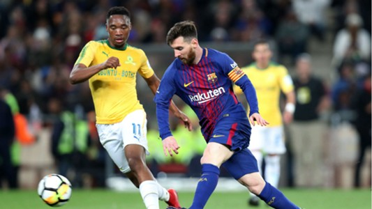 Lionel Messi of Barcelona and Sibusiso Vilakazi of Sundowns - May 16 2018