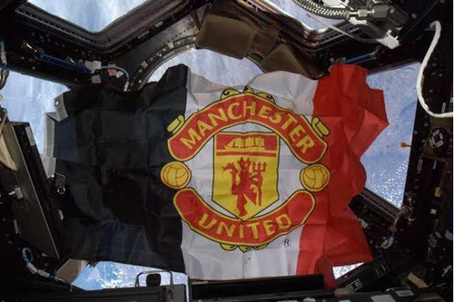 Manchester United flag in space