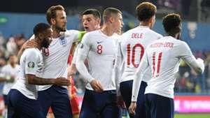 England celebrate vs Montenegro