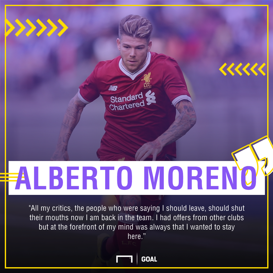 Alberto Moreno Liverpool shut up critics