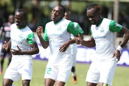 Gor Mahia striker Meddie Kagere celebrates