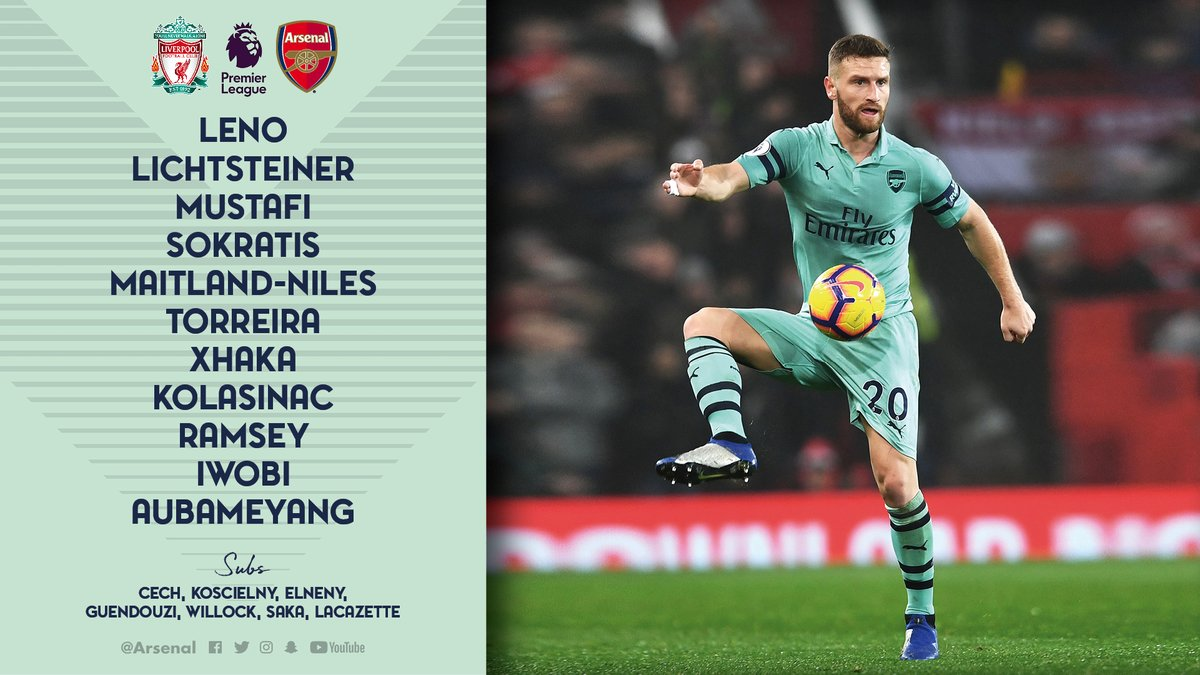 Liverpool vs Arsenal Line up EPL 291218