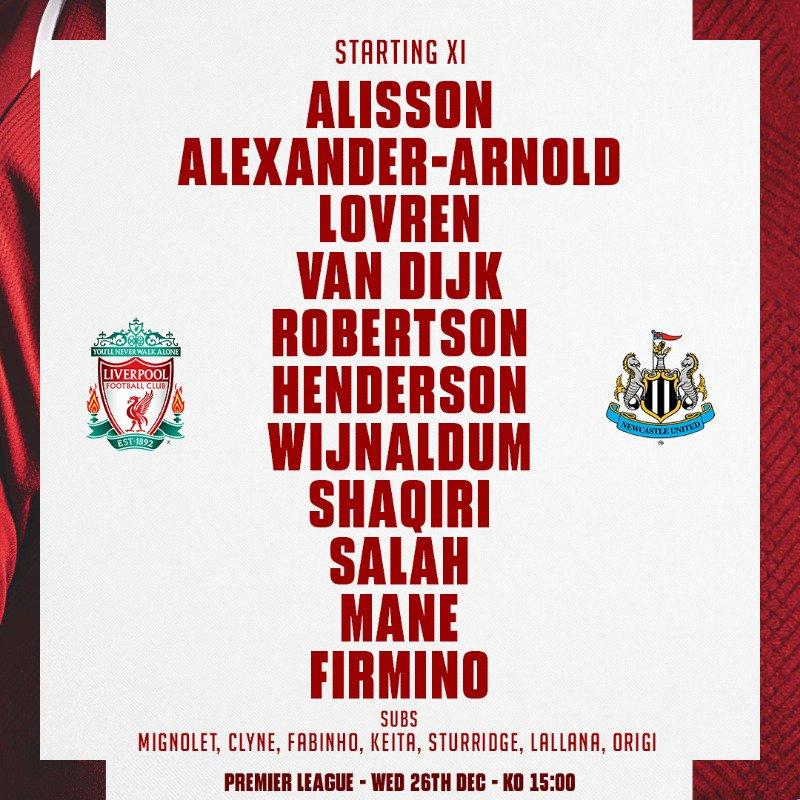 Liverpool vs Newcastle Line up Premier League 261218