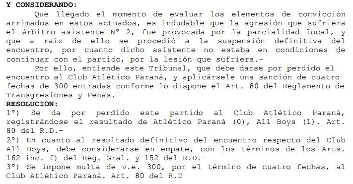 Resolucion AFA Atletico Parana All Boys