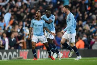 Raheem Sterling comemora gol do Manchester City diante do Tottenham na Champions League