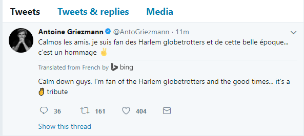 Griezmann blackface explanation twitter