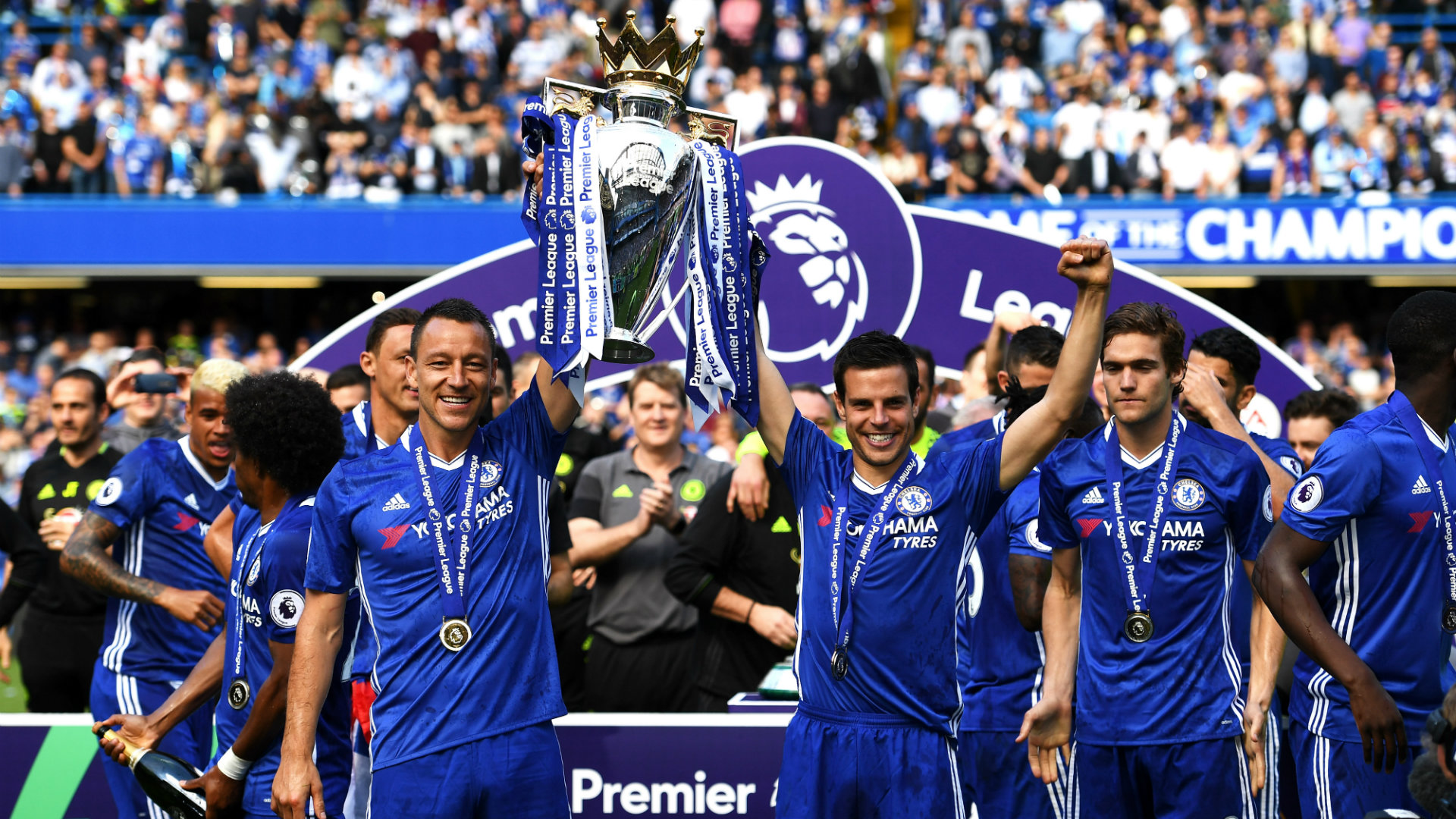 Chelsea 2016/17 Premier League champions, John Terry, Cesar Azpilicueta