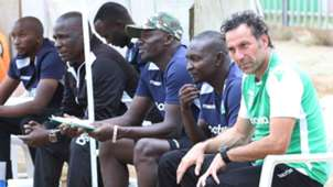 Gor Mahia coach Hassan Oktay Zedekiah Otieno Willice Ochieng and Jolawi Abondo.j