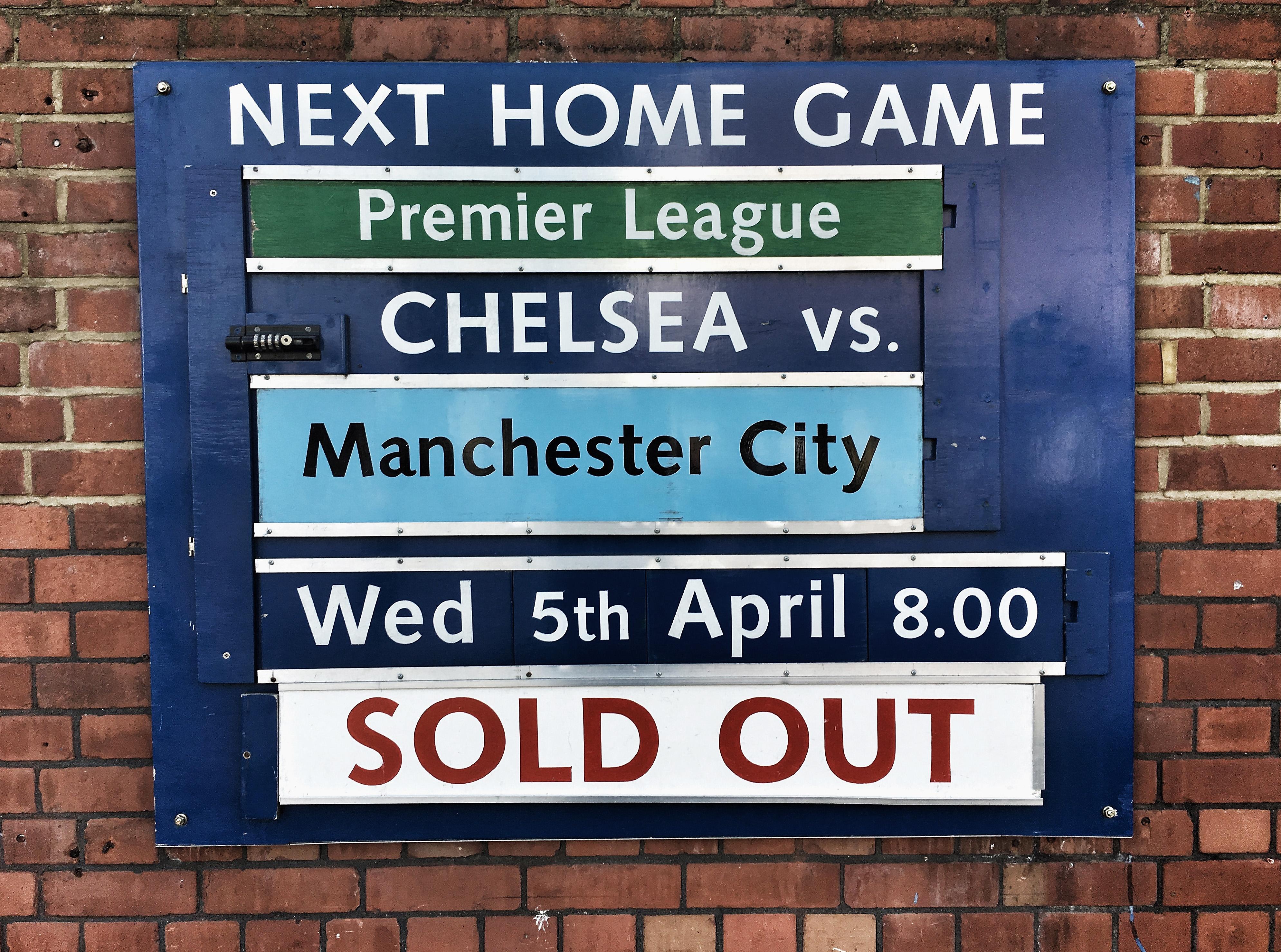 Chelsea fixtures board