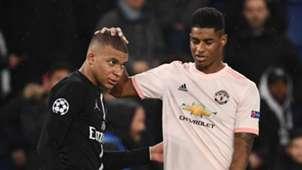 Kylian Mbappe Marcus Rashford Paris Saint-Germain Manchester United