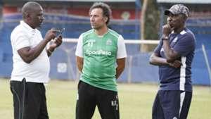 Gor Mahia coach Hassan Oktay Zedekiah Otieno and Jolawi Abondo.