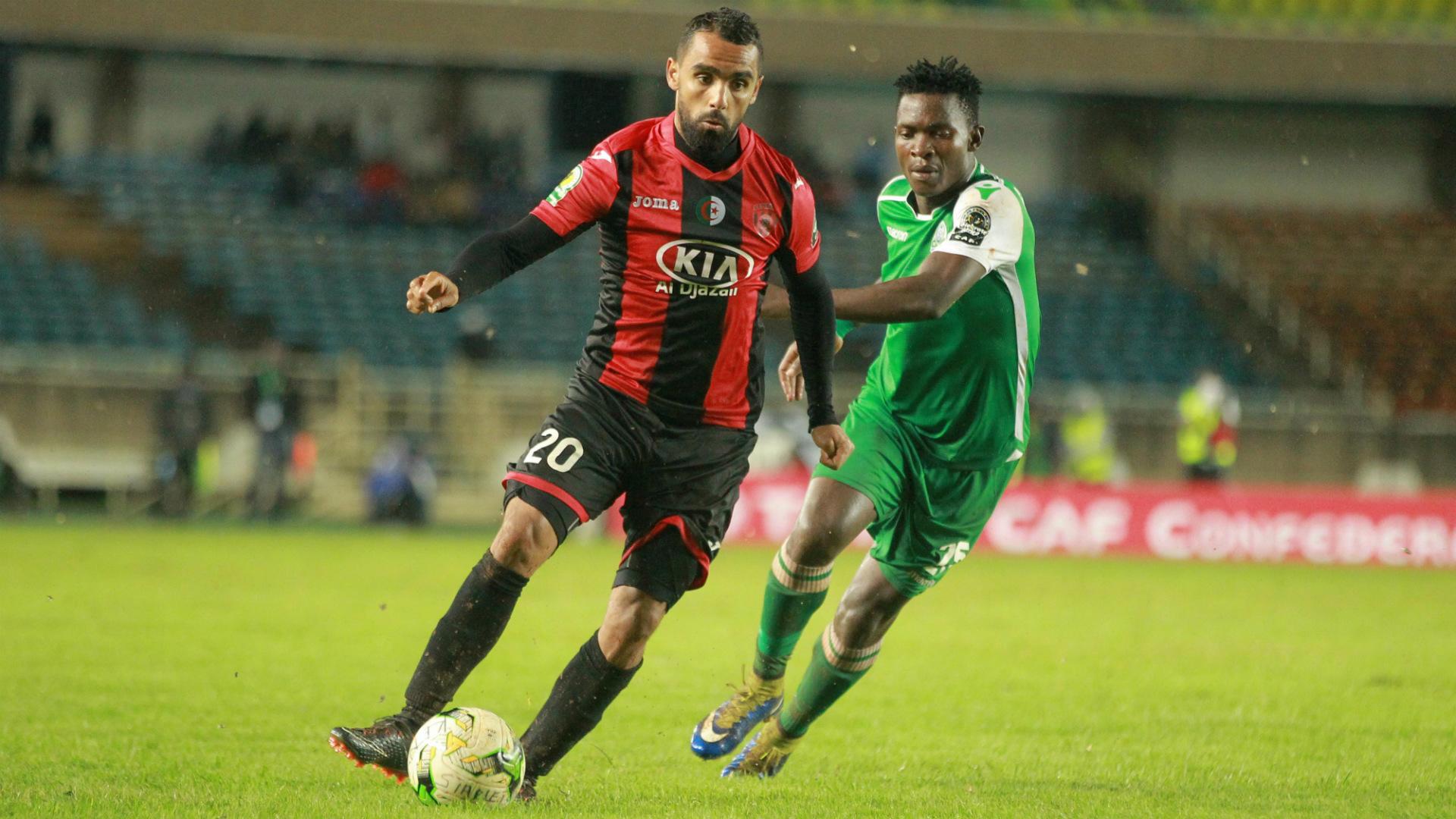 Gor Mahia midfielder George Odhiambo v USM Alger.