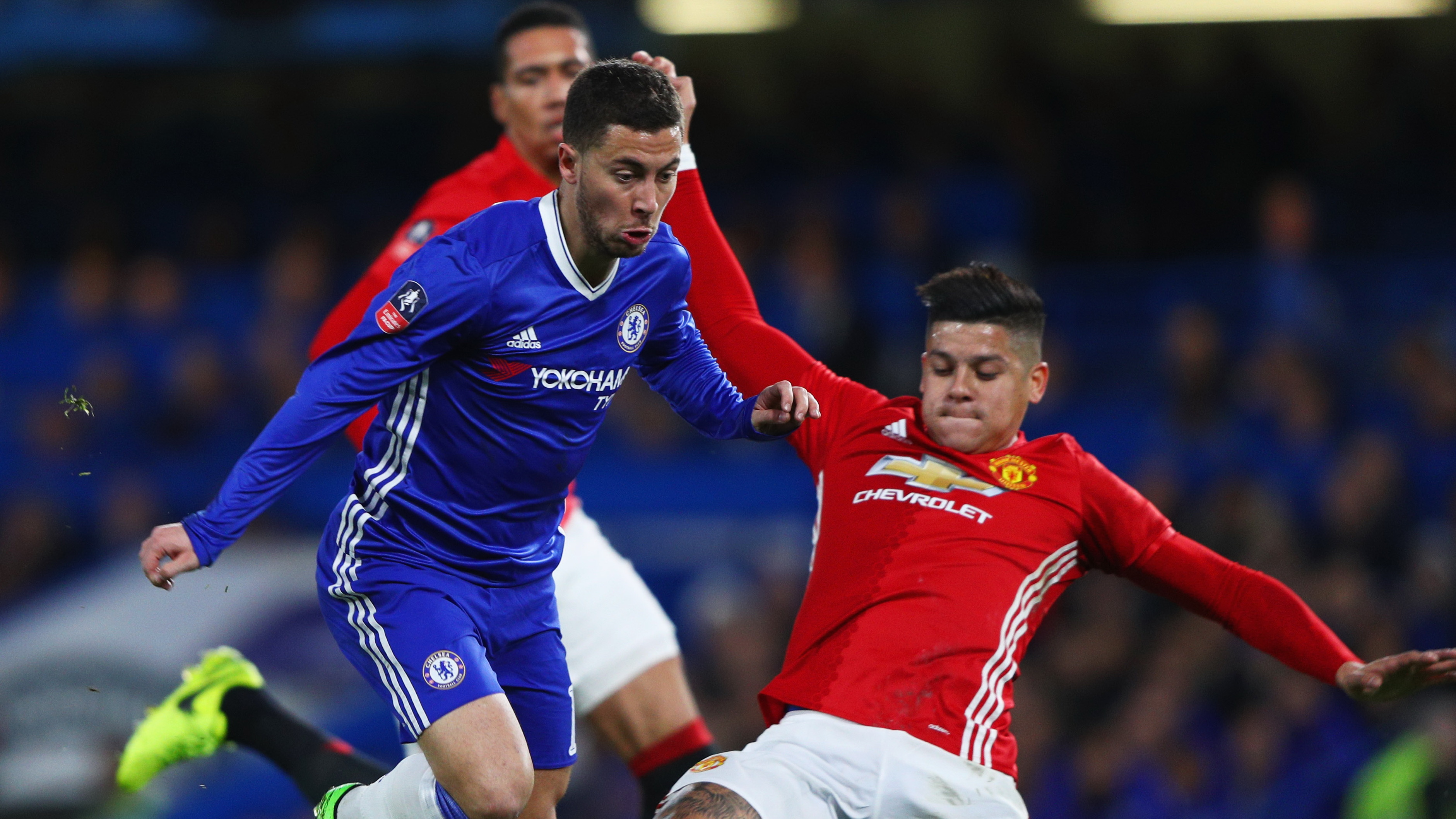Eden Hazard Chelsea Marcos Rojo Manchester United FA Cup
