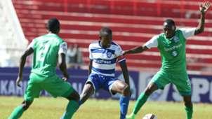 AFC Leopards captain Bernard Mangoli takes on Meddie Kagere and Goddfrey Walusimbi of Gor Mahia.
