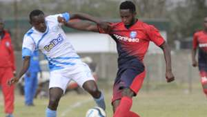 Stephen Waruru of Sofapaka v Moses Mburu of AFC Leopards.