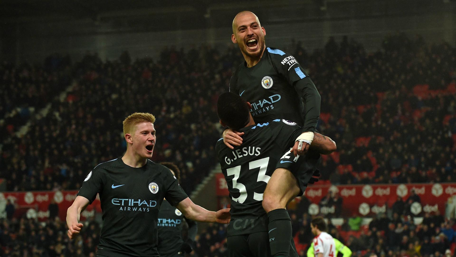 David Silva Gabriel Jesus Kevin De Bruyne Manchester City Stoke City