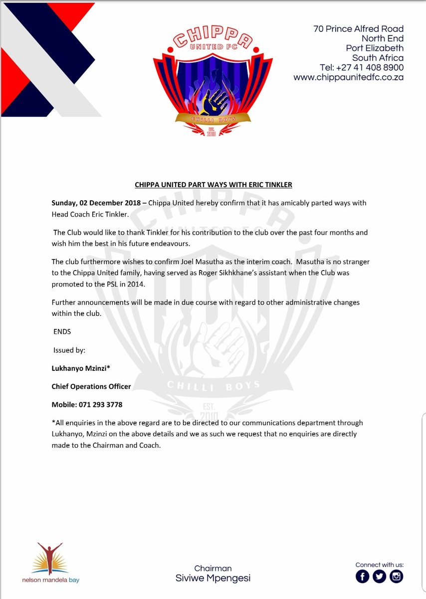Chippa United statement