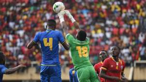 Aishi Salum Manula, Tanzania goalkeeper punches away the ball during the 2019 Afcon Qualifiers against Uganda