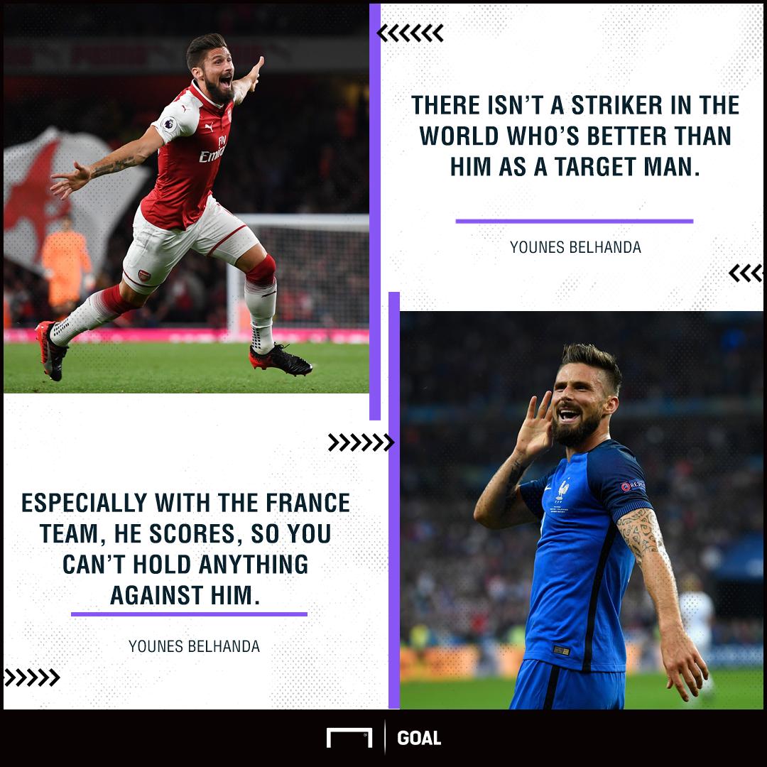 Younes Belhanda Olivier Giroud Arsenal world's best target man